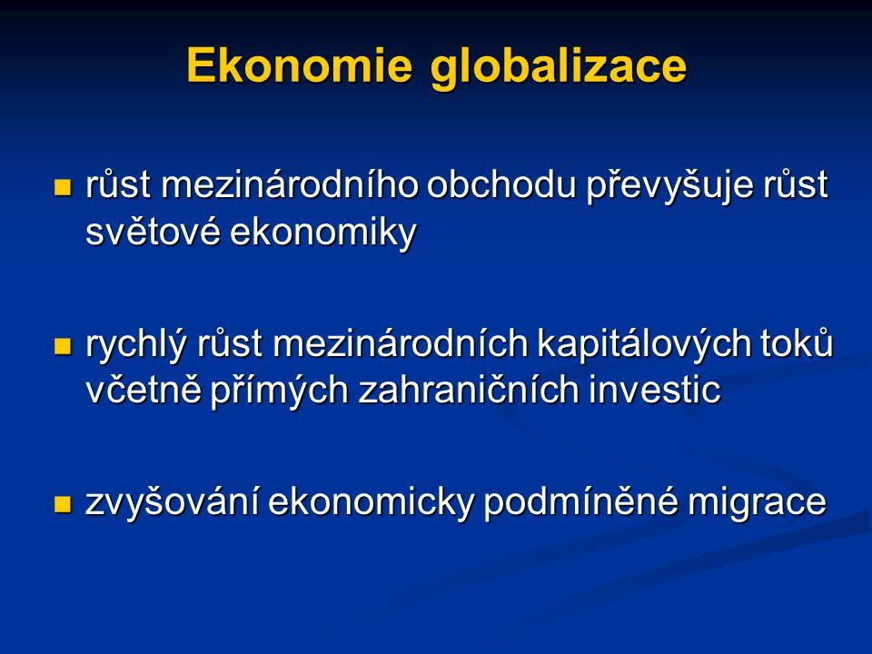 Ekonomie globalizace růst mezinárodního obchodu převyšuje růst světové ekonomiky růst mezinárodního obchodu převyšuje růst světové ekonomiky rychlý růst mezinárodních kapitálových toků včetně přímých zahraničních investic rychlý růst mezinárodních kapitálových toků včetně přímých zahraničních investic zvyšování ekonomicky podmíněné migrace zvyšování ekonomicky podmíněné migrace