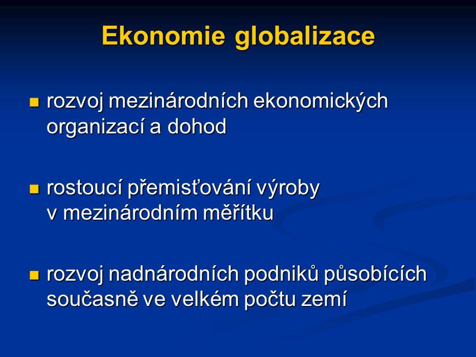 Ekonomie globalizace rozvoj mezinárodních ekonomických organizací a dohod rozvoj mezinárodních ekonomických organizací a dohod rostoucí přemisťování výroby v mezinárodním měřítku rostoucí přemisťování výroby v mezinárodním měřítku rozvoj nadnárodních podniků působících současně ve velkém počtu zemí rozvoj nadnárodních podniků působících současně ve velkém počtu zemí