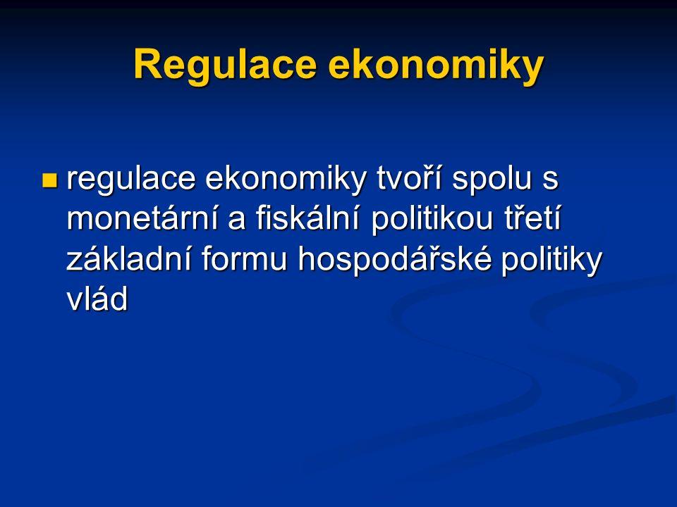 Regulace ekonomiky regulace ekonomiky tvoří spolu s monetární a fiskální politikou třetí základní formu hospodářské politiky vlád regulace ekonomiky tvoří spolu s monetární a fiskální politikou třetí základní formu hospodářské politiky vlád