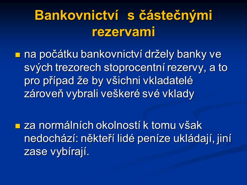 Bankovnictví s částečnými rezervami na počátku bankovnictví držely banky ve svých trezorech stoprocentní rezervy, a to pro případ že by všichni vkladatelé zároveň vybrali veškeré své vklady na počátku bankovnictví držely banky ve svých trezorech stoprocentní rezervy, a to pro případ že by všichni vkladatelé zároveň vybrali veškeré své vklady za normálních okolností k tomu však nedochází: někteří lidé peníze ukládají, jiní zase vybírají.