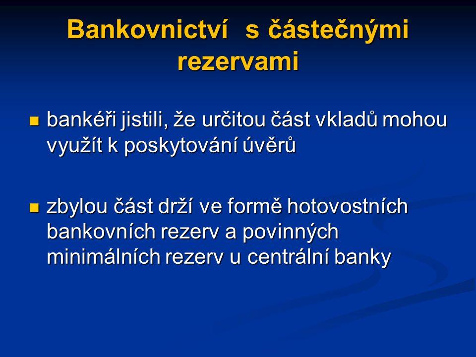 Bankovnictví s částečnými rezervami bankéři jistili, že určitou část vkladů mohou využít k poskytování úvěrů bankéři jistili, že určitou část vkladů mohou využít k poskytování úvěrů zbylou část drží ve formě hotovostních bankovních rezerv a povinných minimálních rezerv u centrální banky zbylou část drží ve formě hotovostních bankovních rezerv a povinných minimálních rezerv u centrální banky