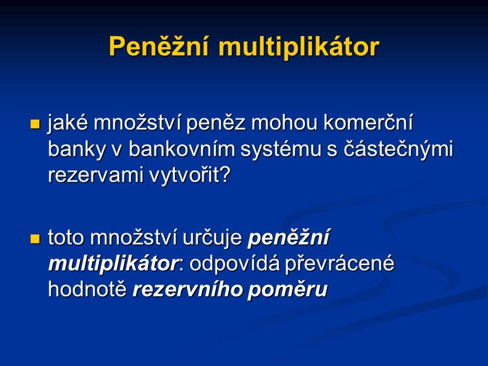 Peněžní multiplikátor jaké množství peněz mohou komerční banky v bankovním systému s částečnými rezervami vytvořit.