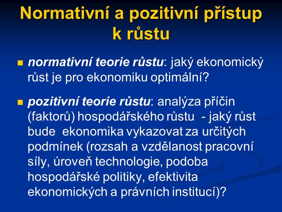 Normativní a pozitivní přístup k růstu normativní teorie růstu: jaký ekonomický růst je pro ekonomiku optimální.