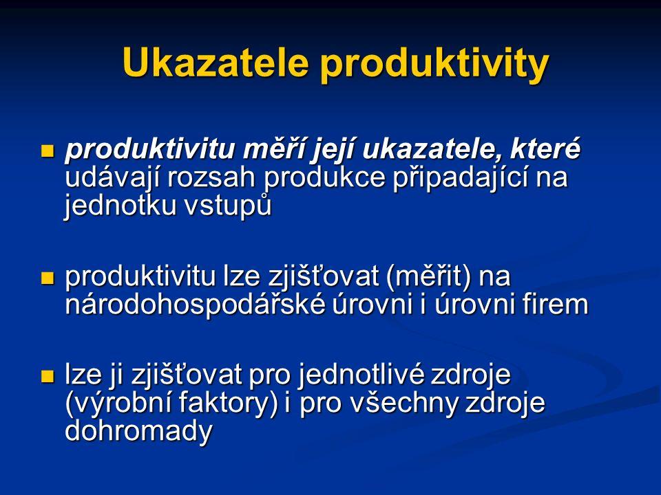 Ukazatele produktivity produktivitu měří její ukazatele, které udávají rozsah produkce připadající na jednotku vstupů produktivitu měří její ukazatele, které udávají rozsah produkce připadající na jednotku vstupů produktivitu lze zjišťovat (měřit) na národohospodářské úrovni i úrovni firem produktivitu lze zjišťovat (měřit) na národohospodářské úrovni i úrovni firem lze ji zjišťovat pro jednotlivé zdroje (výrobní faktory) i pro všechny zdroje dohromady lze ji zjišťovat pro jednotlivé zdroje (výrobní faktory) i pro všechny zdroje dohromady
