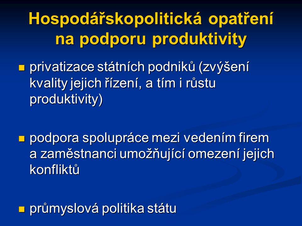 Hospodářskopolitická na podporu produktivity Hospodářskopolitická opatření na podporu produktivity privatizace státních podniků (zvýšení kvality jejich řízení, a tím i růstu produktivity) privatizace státních podniků (zvýšení kvality jejich řízení, a tím i růstu produktivity) podpora spolupráce mezi vedením firem a zaměstnanci umožňující omezení jejich konfliktů podpora spolupráce mezi vedením firem a zaměstnanci umožňující omezení jejich konfliktů průmyslová politika státu průmyslová politika státu