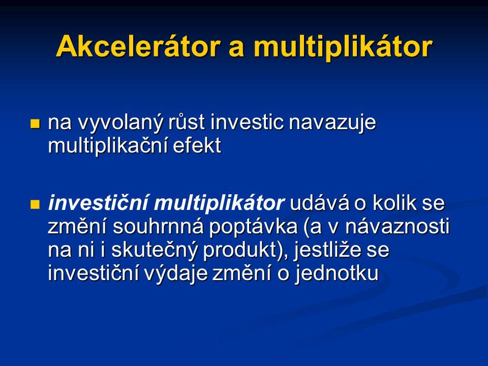 Akcelerátor a multiplikátor na vyvolaný růst investic navazuje multiplikační efekt na vyvolaný růst investic navazuje multiplikační efekt udává o kolik se změní souhrnná poptávka (a v návaznosti na ni i skutečný produkt), jestliže se investiční výdaje změní o jednotku investiční multiplikátor udává o kolik se změní souhrnná poptávka (a v návaznosti na ni i skutečný produkt), jestliže se investiční výdaje změní o jednotku