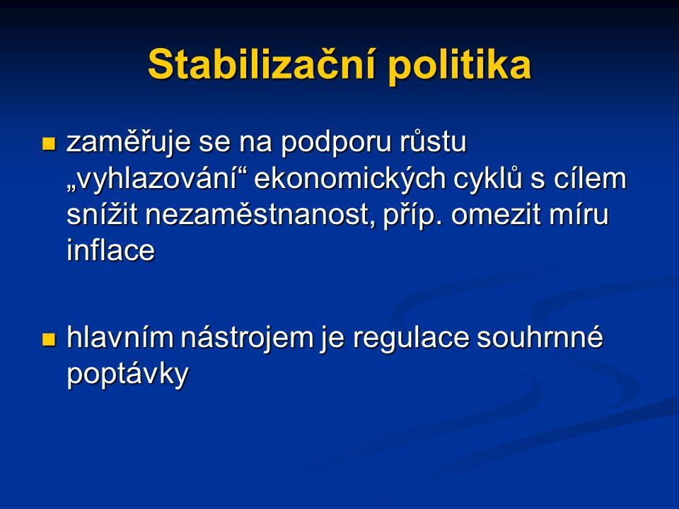 """Stabilizační politika zaměřuje se na podporu růstu """"vyhlazování ekonomických cyklů s cílem snížit nezaměstnanost, příp."""