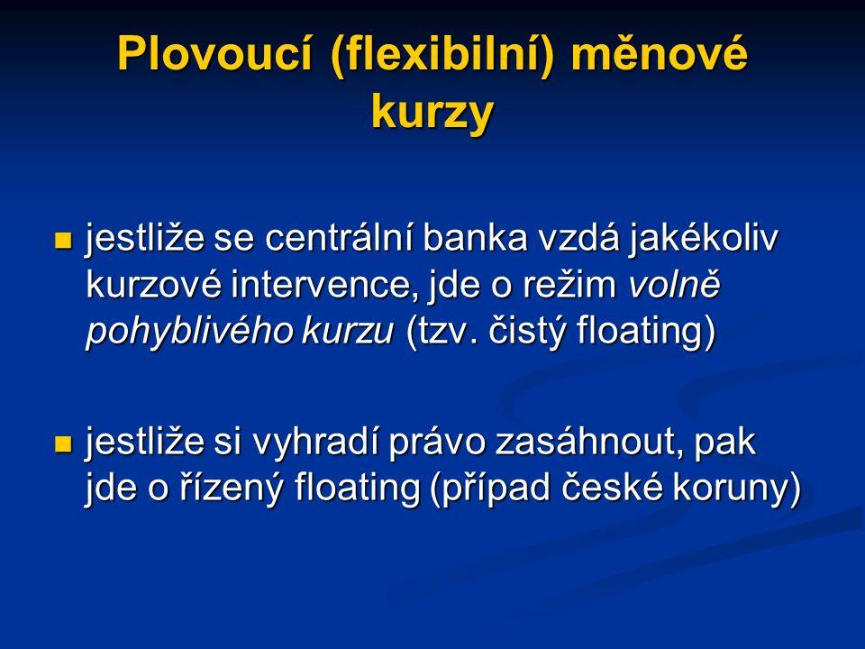Plovoucí (flexibilní) měnové kurzy jestliže se centrální banka vzdá jakékoliv kurzové intervence, jde o režim volně pohyblivého kurzu (tzv.