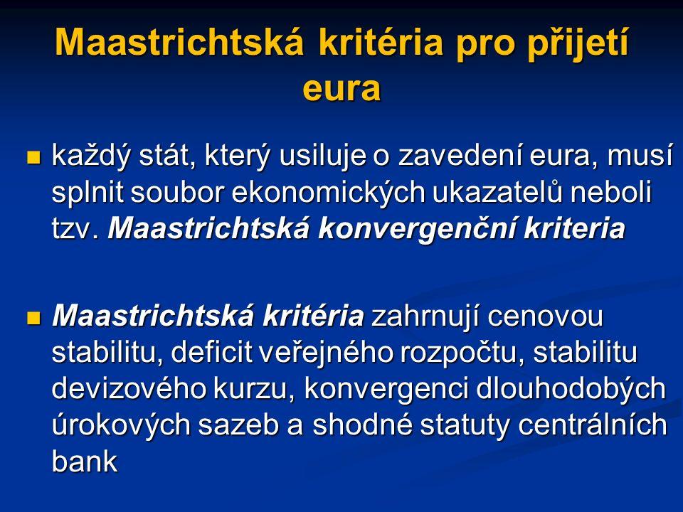 Maastrichtská kritéria pro přijetí eura každý stát, který usiluje o zavedení eura, musí splnit soubor ekonomických ukazatelů neboli tzv.