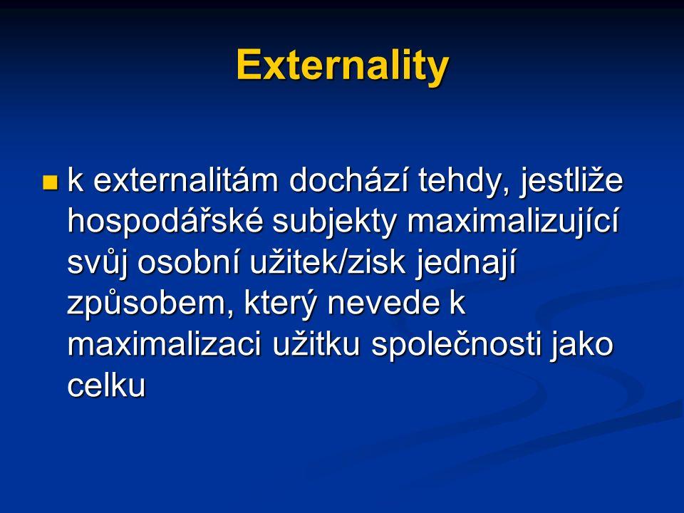 Externality k externalitám dochází tehdy, jestliže hospodářské subjekty maximalizující svůj osobní užitek/zisk jednají způsobem, který nevede k maximalizaci užitku společnosti jako celku k externalitám dochází tehdy, jestliže hospodářské subjekty maximalizující svůj osobní užitek/zisk jednají způsobem, který nevede k maximalizaci užitku společnosti jako celku