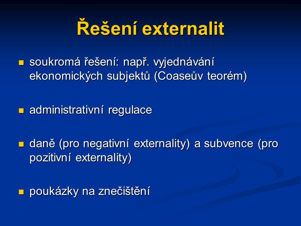 Řešení externalit soukromá řešení: např.