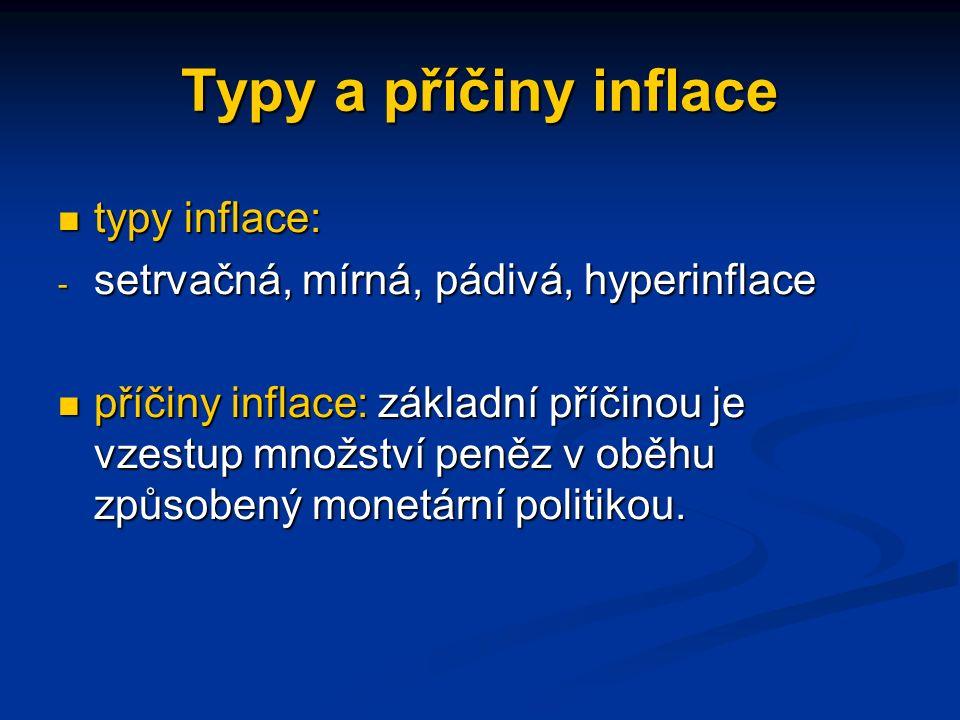 Typy a příčiny inflace typy inflace: typy inflace: - setrvačná, mírná, pádivá, hyperinflace příčiny inflace: základní příčinou je vzestup množství peněz v oběhu způsobený monetární politikou.