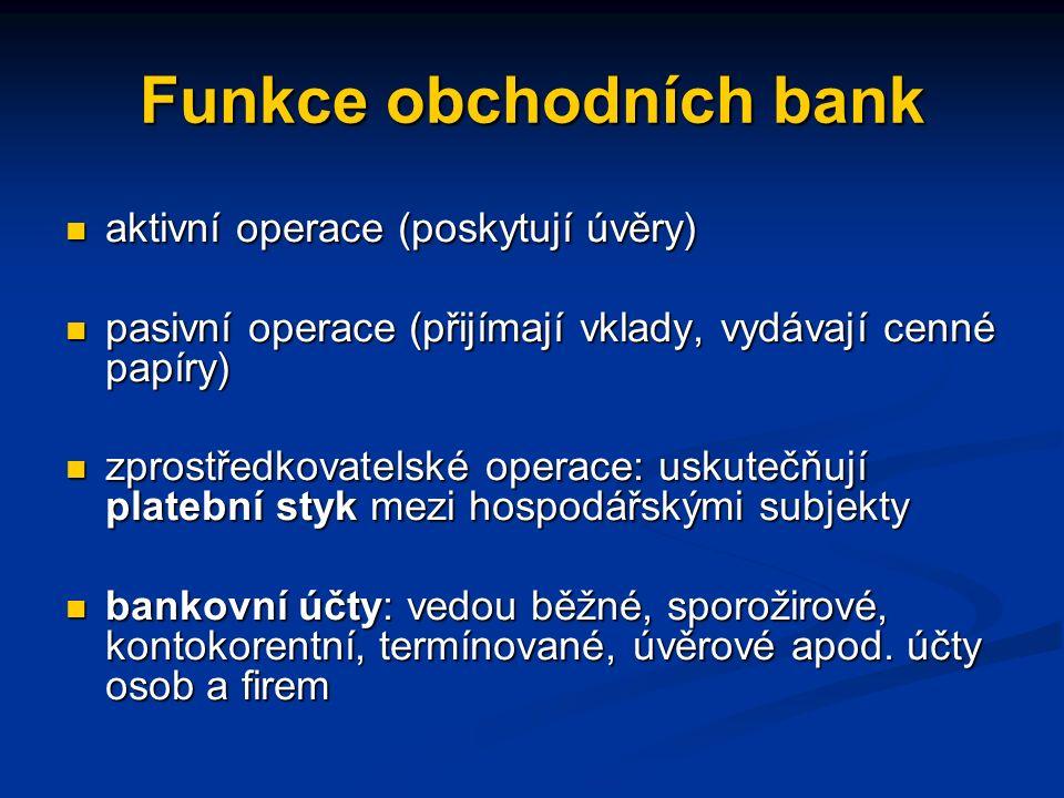 Funkce obchodních bank aktivní operace (poskytují úvěry) aktivní operace (poskytují úvěry) pasivní operace (přijímají vklady, vydávají cenné papíry) pasivní operace (přijímají vklady, vydávají cenné papíry) zprostředkovatelské operace: uskutečňují platební styk mezi hospodářskými subjekty zprostředkovatelské operace: uskutečňují platební styk mezi hospodářskými subjekty bankovní účty: vedou běžné, sporožirové, kontokorentní, termínované, úvěrové apod.