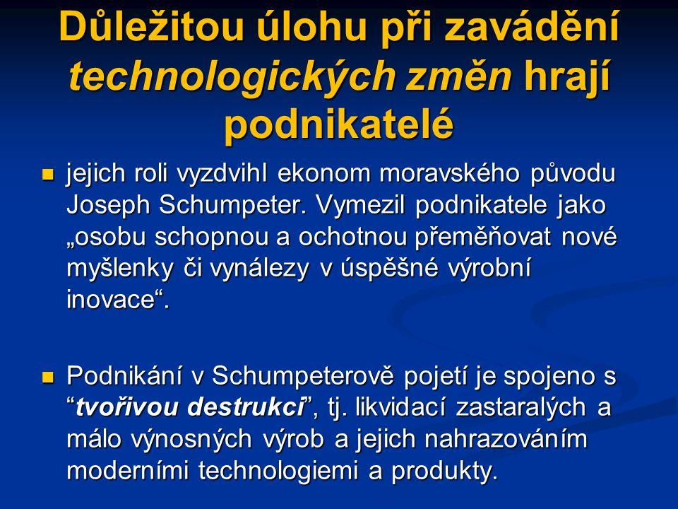 Důležitou úlohu při zavádění technologických změn hrají podnikatelé jejich roli vyzdvihl ekonom moravského původu Joseph Schumpeter.