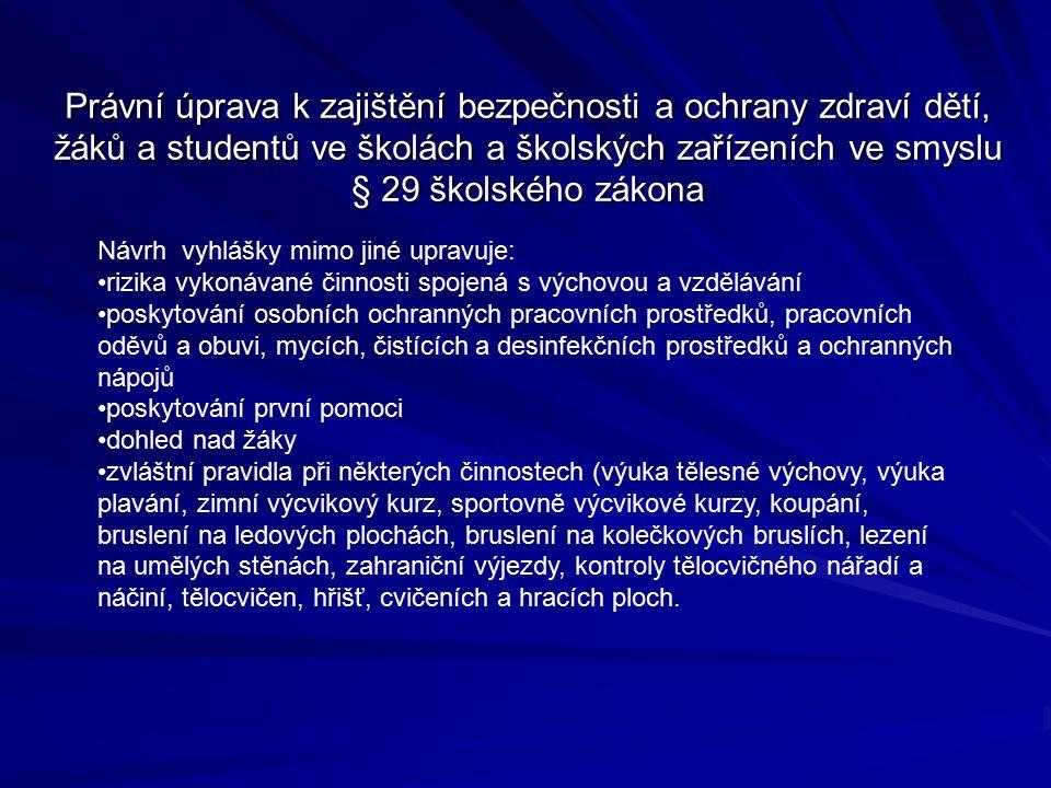 Právní úprava k zajištění bezpečnosti a ochrany zdraví dětí, žáků a studentů ve školách a školských zařízeních ve smyslu § 29 školského zákona Návrh v