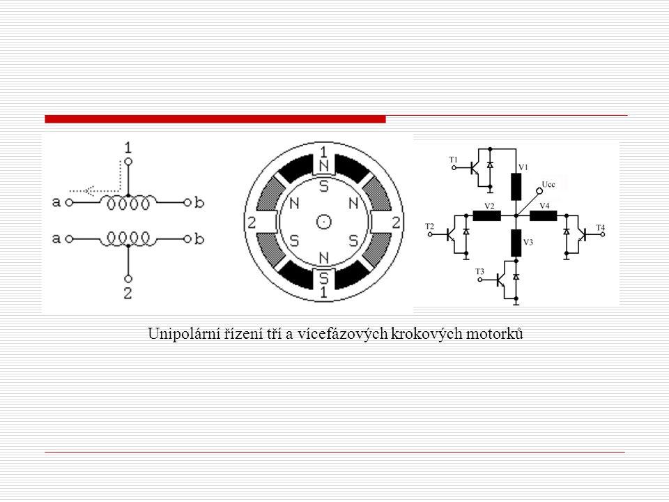 Unipolární řízení tří a vícefázových krokových motorků