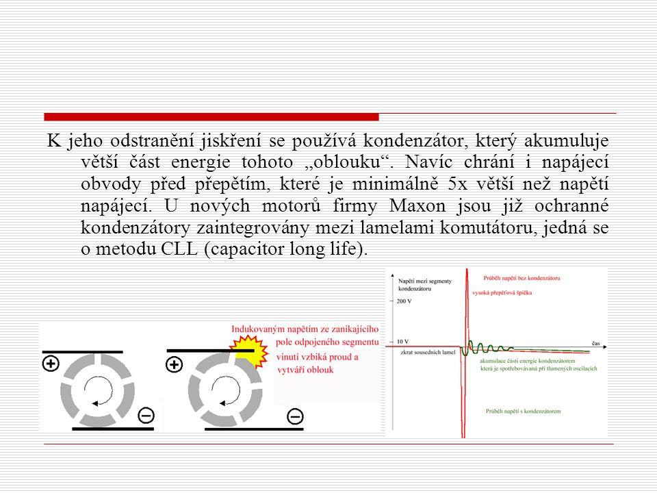 """K jeho odstranění jiskření se používá kondenzátor, který akumuluje větší část energie tohoto """"oblouku ."""