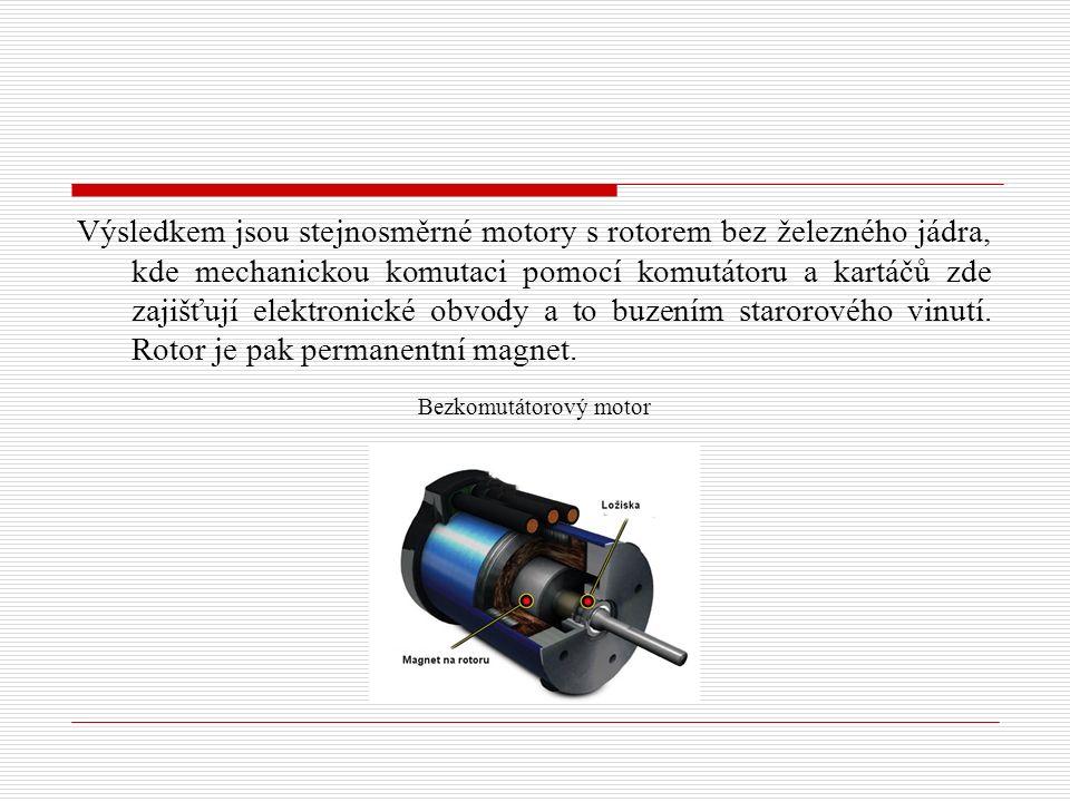 Výsledkem jsou stejnosměrné motory s rotorem bez železného jádra, kde mechanickou komutaci pomocí komutátoru a kartáčů zde zajišťují elektronické obvody a to buzením starorového vinutí.