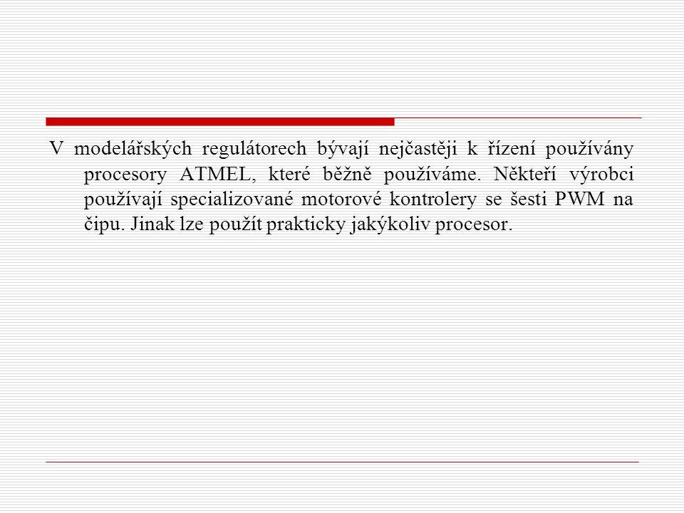 V modelářských regulátorech bývají nejčastěji k řízení používány procesory ATMEL, které běžně používáme.