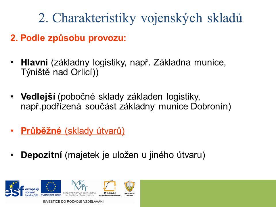 2. Podle způsobu provozu: Hlavní (základny logistiky, např. Základna munice, Týniště nad Orlicí)) Vedlejší (pobočné sklady základen logistiky, např.po