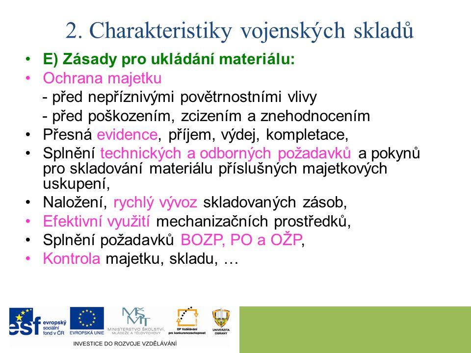 2. Charakteristiky vojenských skladů E) Zásady pro ukládání materiálu: Ochrana majetku - před nepříznivými povětrnostními vlivy - před poškozením, zci