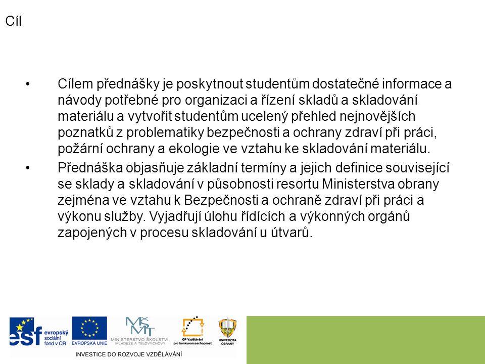 Cíl Cílem přednášky je poskytnout studentům dostatečné informace a návody potřebné pro organizaci a řízení skladů a skladování materiálu a vytvořit st