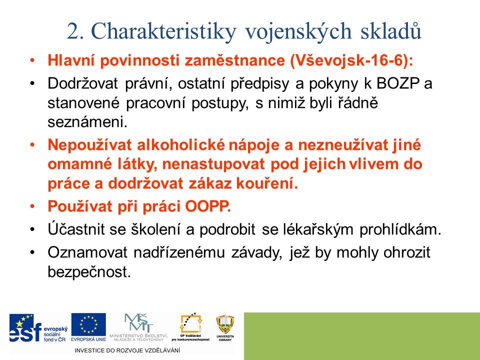 Hlavní povinnosti zaměstnance (Vševojsk-16-6): Dodržovat právní, ostatní předpisy a pokyny k BOZP a stanovené pracovní postupy, s nimiž byli řádně sez