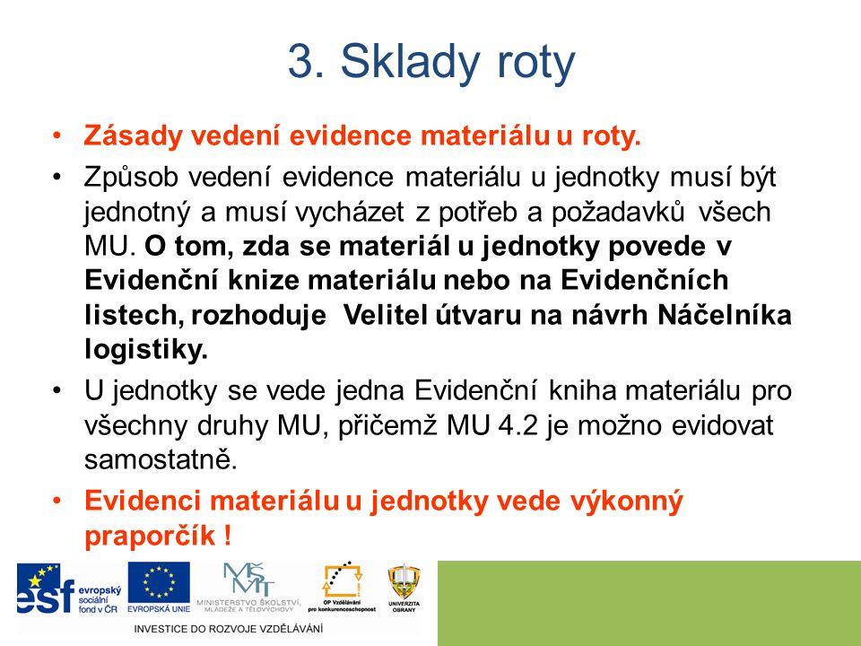 Zásady vedení evidence materiálu u roty.