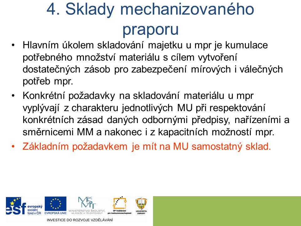 4. Sklady mechanizovaného praporu Hlavním úkolem skladování majetku u mpr je kumulace potřebného množství materiálu s cílem vytvoření dostatečných zás