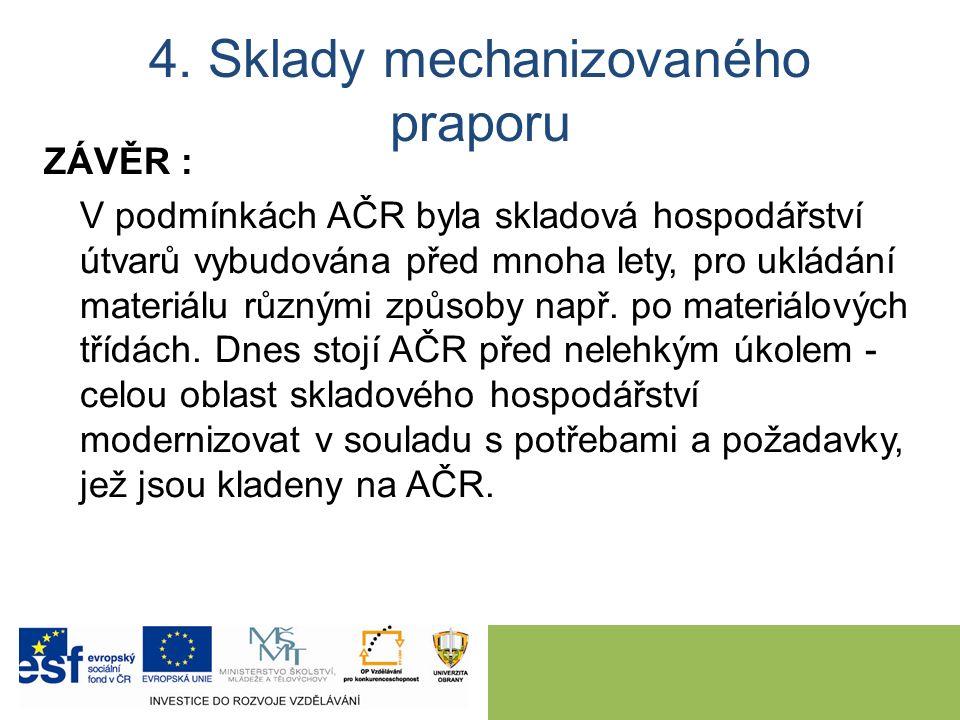 4. Sklady mechanizovaného praporu ZÁVĚR : V podmínkách AČR byla skladová hospodářství útvarů vybudována před mnoha lety, pro ukládání materiálu různým
