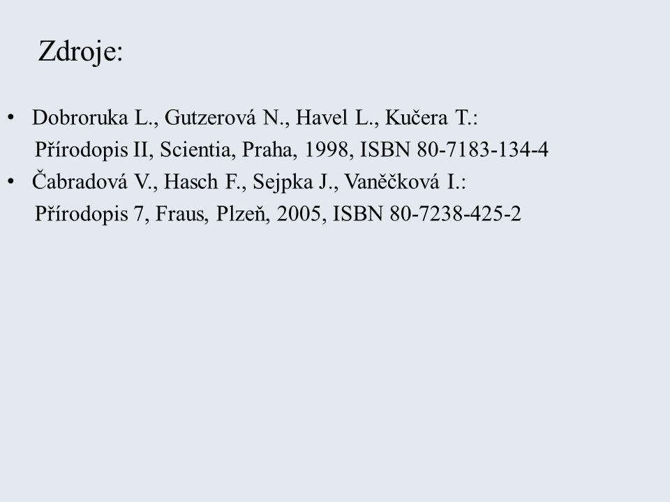 Zdroje: Dobroruka L., Gutzerová N., Havel L., Kučera T.: Přírodopis II, Scientia, Praha, 1998, ISBN 80-7183-134-4 Čabradová V., Hasch F., Sejpka J., Vaněčková I.: Přírodopis 7, Fraus, Plzeň, 2005, ISBN 80-7238-425-2