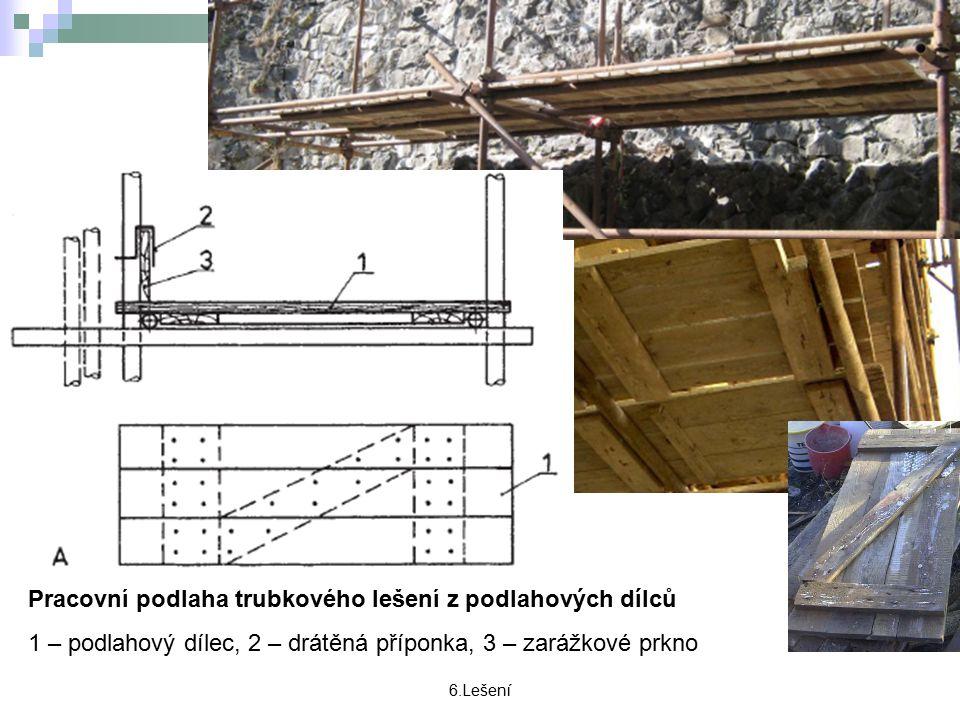 6.Lešení Pracovní podlaha trubkového lešení z podlahových dílců 1 – podlahový dílec, 2 – drátěná příponka, 3 – zarážkové prkno