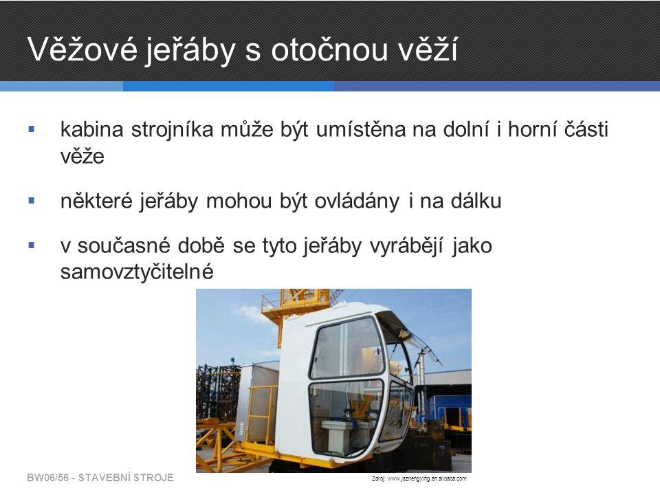 Věžové jeřáby s otočnou věží  kabina strojníka může být umístěna na dolní i horní části věže  některé jeřáby mohou být ovládány i na dálku  v současné době se tyto jeřáby vyrábějí jako samovztyčitelné BW06/56 - STAVEBNÍ STROJE Zdroj: www.jszhengxing.en.alibaba.com