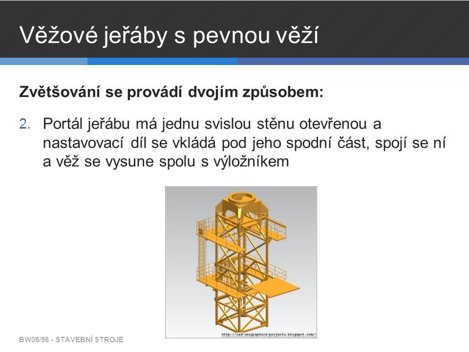 Věžové jeřáby s pevnou věží Zvětšování se provádí dvojím způsobem: 2.