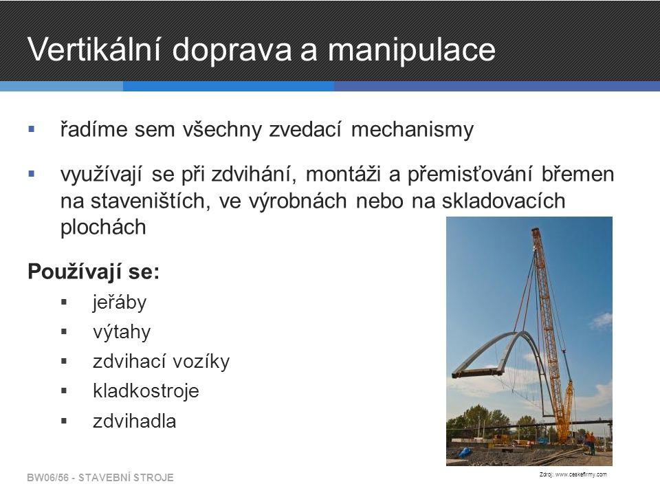 Vertikální doprava a manipulace  řadíme sem všechny zvedací mechanismy  využívají se při zdvihání, montáži a přemisťování břemen na staveništích, ve výrobnách nebo na skladovacích plochách Používají se:  jeřáby  výtahy  zdvihací vozíky  kladkostroje  zdvihadla BW06/56 - STAVEBNÍ STROJE Zdroj: www.ceskefirmy.com