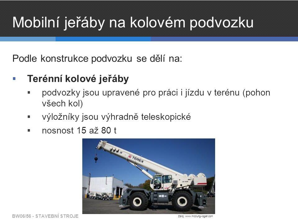Mobilní jeřáby na kolovém podvozku Podle konstrukce podvozku se dělí na:  Terénní kolové jeřáby  podvozky jsou upravené pro práci i jízdu v terénu (pohon všech kol)  výložníky jsou výhradně teleskopické  nosnost 15 až 80 t BW06/56 - STAVEBNÍ STROJE Zdroj: www.mcclung-logan.com