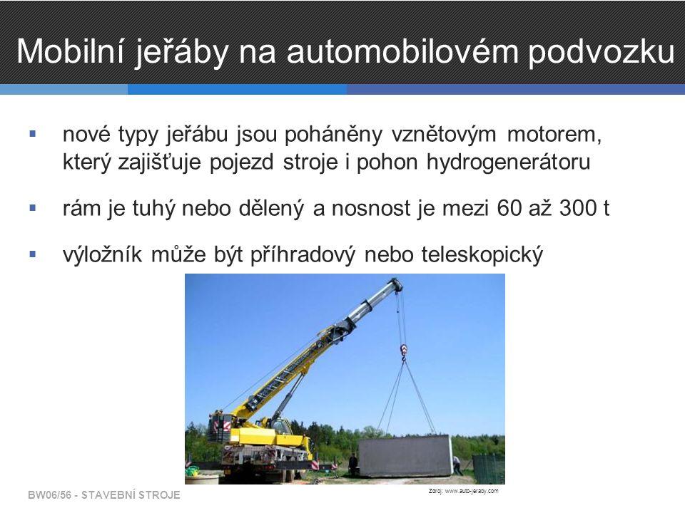 Mobilní jeřáby na automobilovém podvozku  nové typy jeřábu jsou poháněny vznětovým motorem, který zajišťuje pojezd stroje i pohon hydrogenerátoru  rám je tuhý nebo dělený a nosnost je mezi 60 až 300 t  výložník může být příhradový nebo teleskopický BW06/56 - STAVEBNÍ STROJE Zdroj: www.auto-jeraby.com