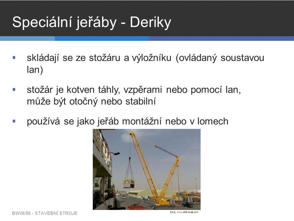 Speciální jeřáby - Deriky  skládají se ze stožáru a výložníku (ovládaný soustavou lan)  stožár je kotven táhly, vzpěrami nebo pomocí lan, může být otočný nebo stabilní  používá se jako jeřáb montážní nebo v lomech BW06/56 - STAVEBNÍ STROJE Zdroj: www.alfarisuae.com