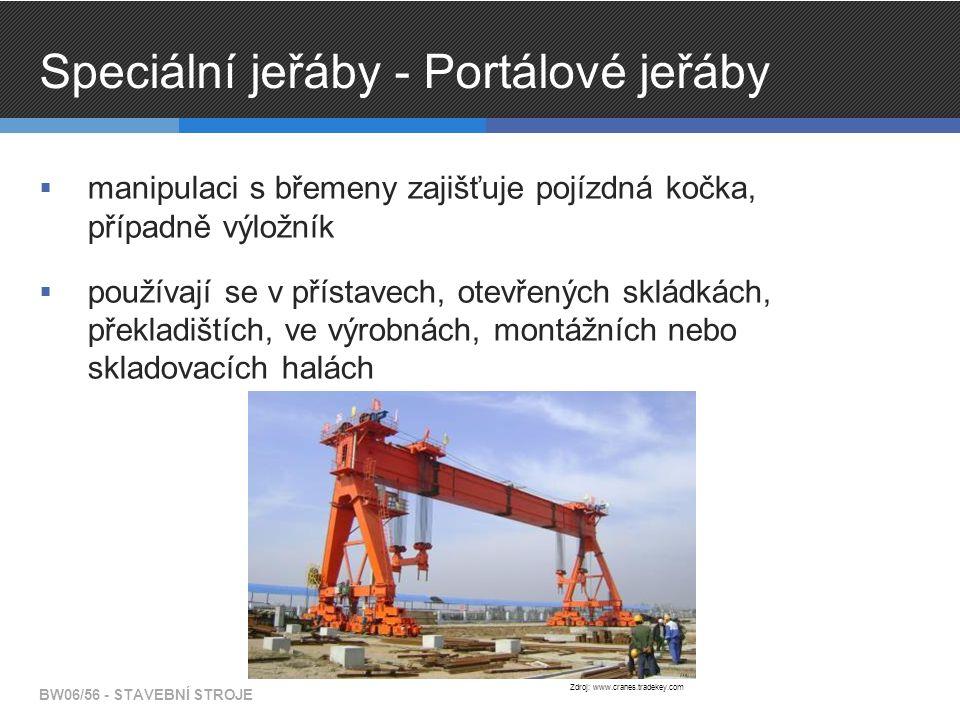 Speciální jeřáby - Portálové jeřáby  manipulaci s břemeny zajišťuje pojízdná kočka, případně výložník  používají se v přístavech, otevřených skládkách, překladištích, ve výrobnách, montážních nebo skladovacích halách BW06/56 - STAVEBNÍ STROJE Zdroj: www.cranes.tradekey.com