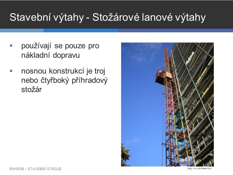 Stavební výtahy - Stožárové lanové výtahy  používají se pouze pro nákladní dopravu  nosnou konstrukcí je troj nebo čtyřboký příhradový stožár BW06/56 - STAVEBNÍ STROJE Zdroj: www.cbmontservis.cz