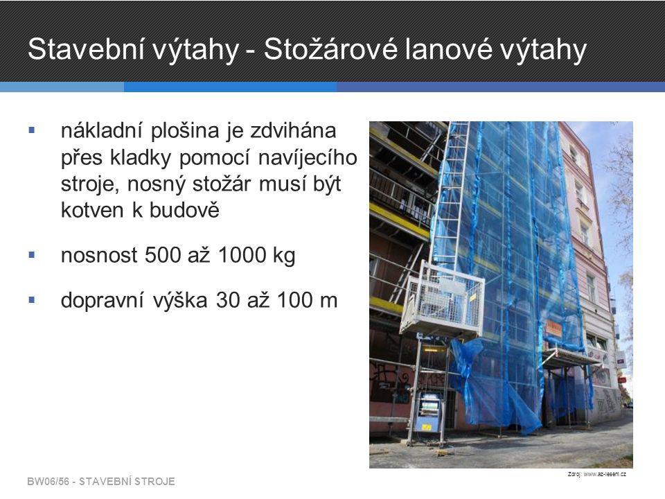 Stavební výtahy - Stožárové lanové výtahy  nákladní plošina je zdvihána přes kladky pomocí navíjecího stroje, nosný stožár musí být kotven k budově  nosnost 500 až 1000 kg  dopravní výška 30 až 100 m BW06/56 - STAVEBNÍ STROJE Zdroj: www.az-leseni.cz