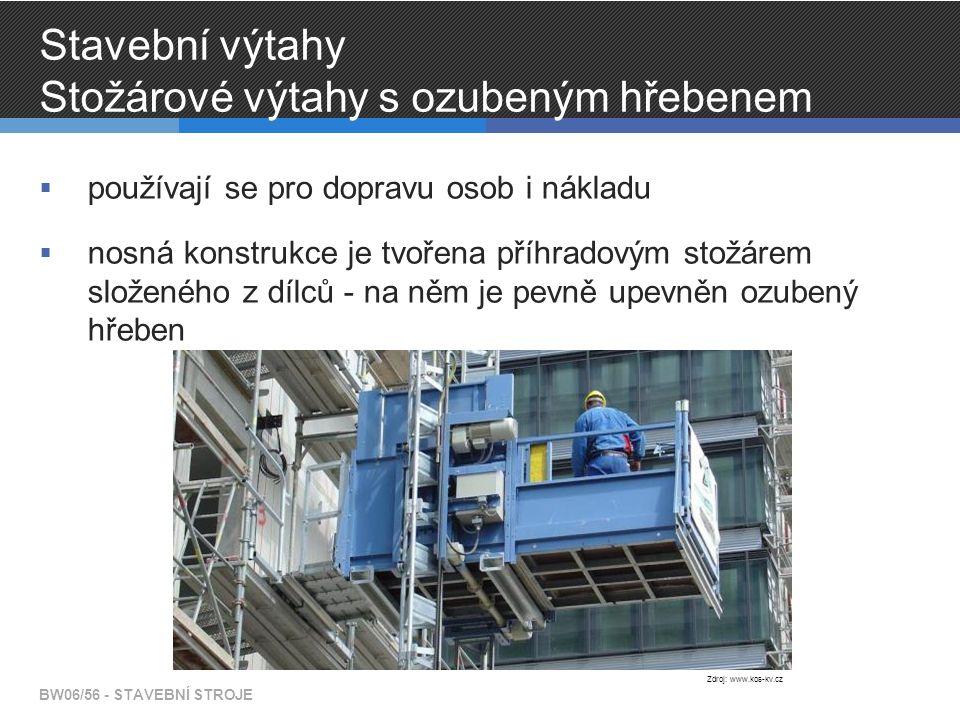 Stavební výtahy Stožárové výtahy s ozubeným hřebenem  používají se pro dopravu osob i nákladu  nosná konstrukce je tvořena příhradovým stožárem složeného z dílců - na něm je pevně upevněn ozubený hřeben BW06/56 - STAVEBNÍ STROJE Zdroj: www.kos-kv.cz