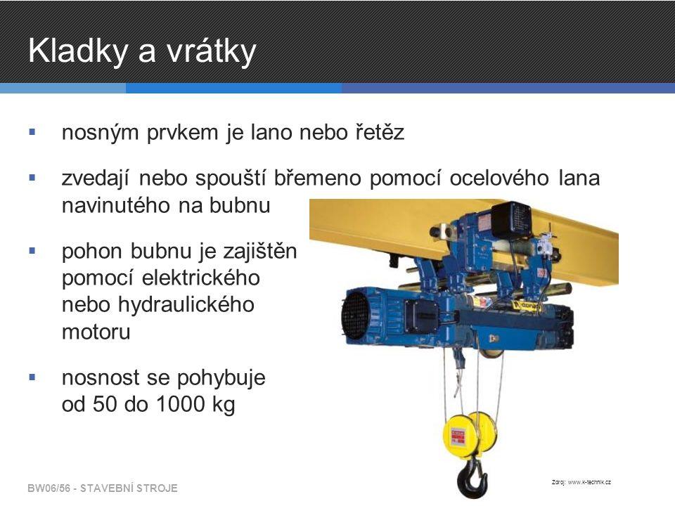 Kladky a vrátky  nosným prvkem je lano nebo řetěz  zvedají nebo spouští břemeno pomocí ocelového lana navinutého na bubnu  pohon bubnu je zajištěn pomocí elektrického nebo hydraulického motoru  nosnost se pohybuje od 50 do 1000 kg BW06/56 - STAVEBNÍ STROJE Zdroj: www.k-technik.cz