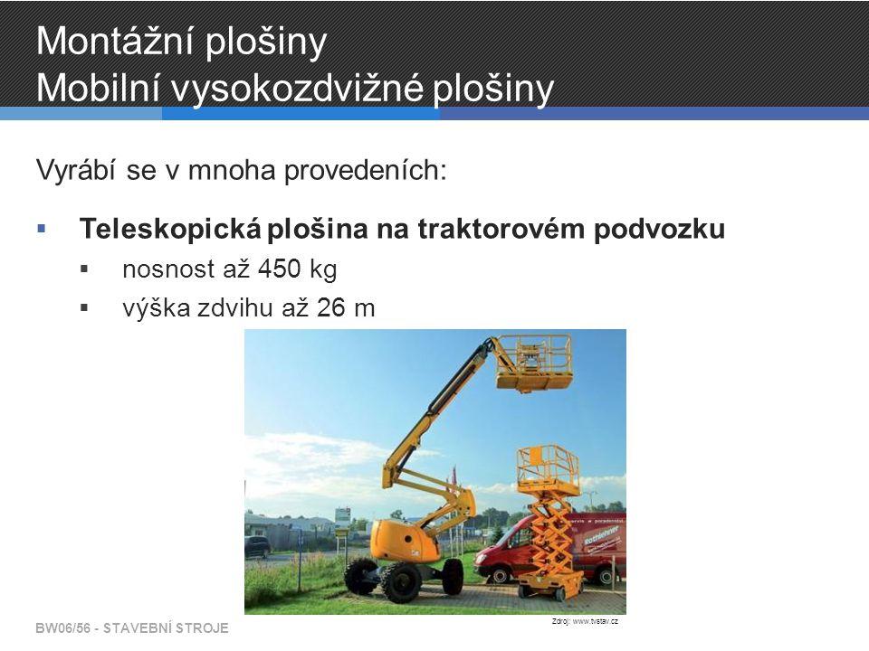 Montážní plošiny Mobilní vysokozdvižné plošiny Vyrábí se v mnoha provedeních:  Teleskopická plošina na traktorovém podvozku  nosnost až 450 kg  výška zdvihu až 26 m BW06/56 - STAVEBNÍ STROJE Zdroj: www.tvstav.cz