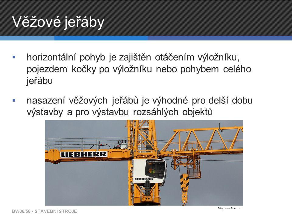 Věžové jeřáby  horizontální pohyb je zajištěn otáčením výložníku, pojezdem kočky po výložníku nebo pohybem celého jeřábu  nasazení věžových jeřábů je výhodné pro delší dobu výstavby a pro výstavbu rozsáhlých objektů BW06/56 - STAVEBNÍ STROJE Zdroj: www.flickr.com