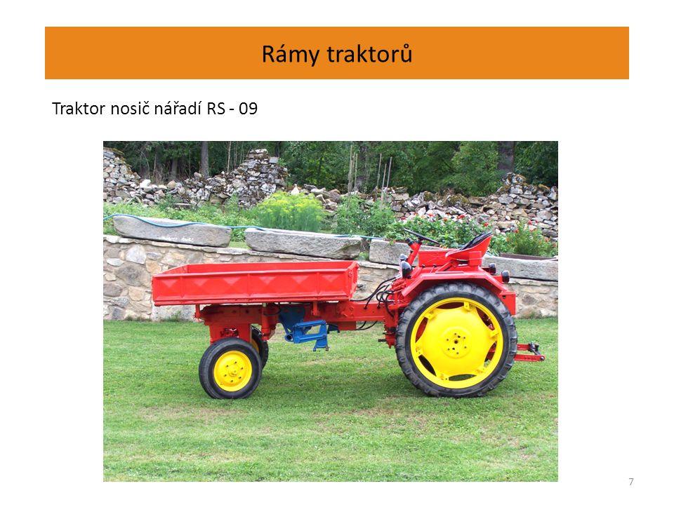 Rámy traktorů Obdélníkový rám – JCB Fastrac Nosným prvkem je obdélníková rámová konstrukce.
