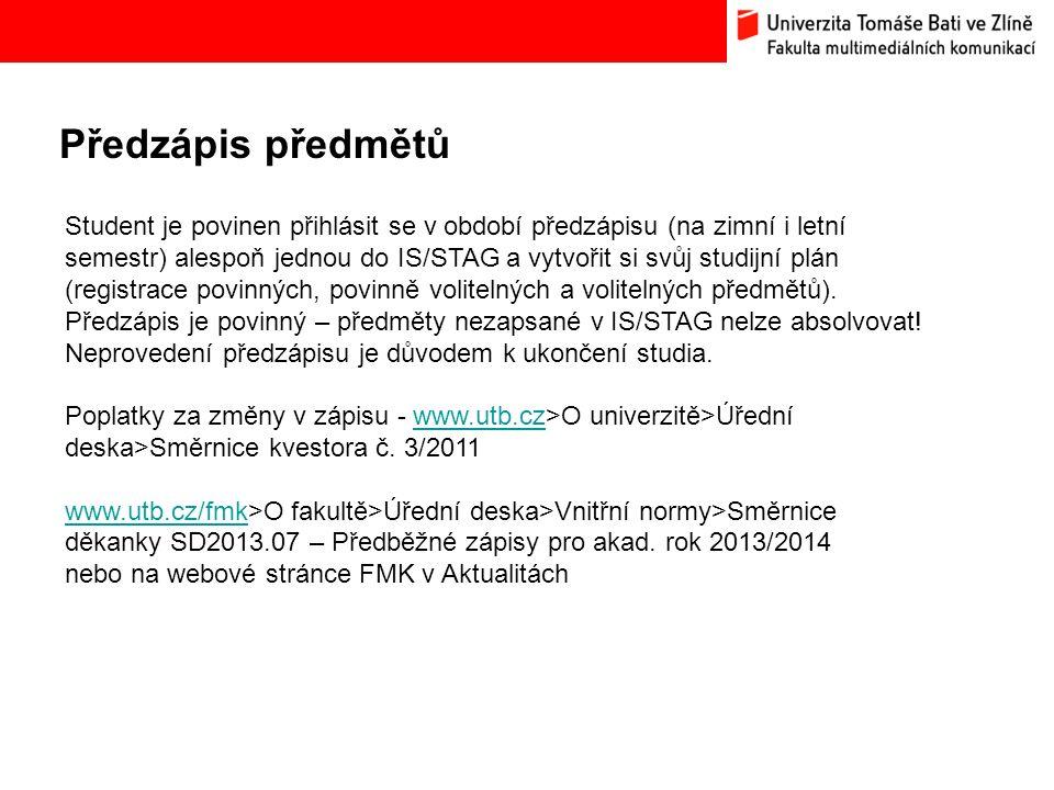 Předzápis předmětů Bc.