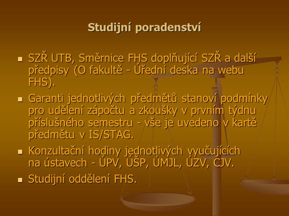 Studijní poradenství SZŘ UTB, Směrnice FHS doplňující SZŘ a další předpisy (O fakultě - Úřední deska na webu FHS). SZŘ UTB, Směrnice FHS doplňující SZ