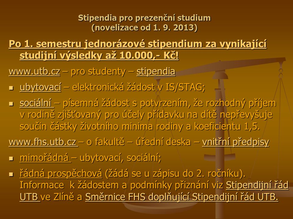 Stipendia pro prezenční studium (novelizace od 1. 9.