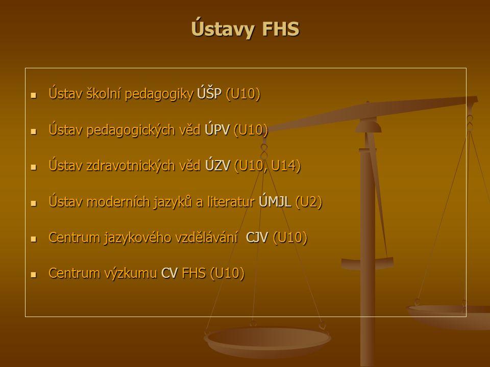 Ústavy FHS Ústav školní pedagogiky ÚŠP (U10) Ústav školní pedagogiky ÚŠP (U10) Ústav pedagogických věd ÚPV (U10) Ústav pedagogických věd ÚPV (U10) Úst
